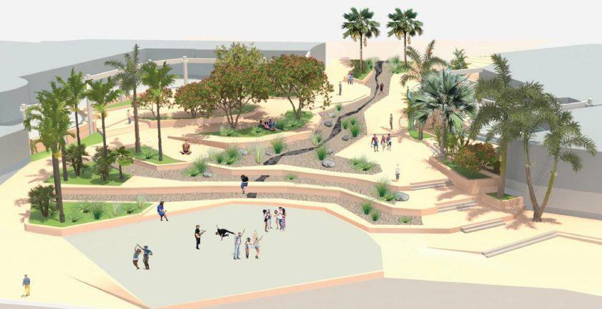 """חוף דלילה. הדמיה: מקום אדריכלות נוף בע""""מ"""