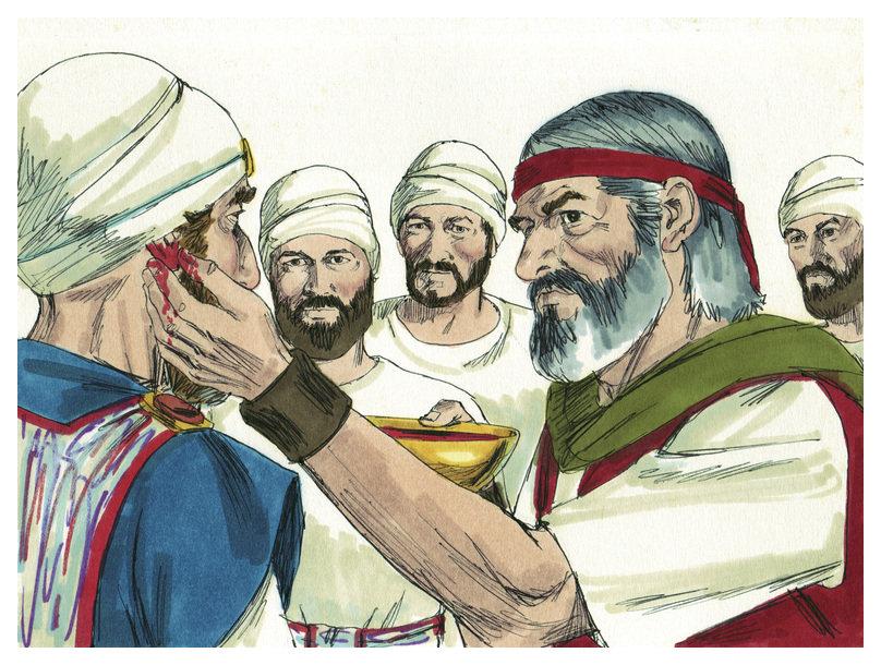 משה מכשיר את בני אהרון. ציור: Distant Shores Media/Sweet Publishing, מתוך ויקיפדיה