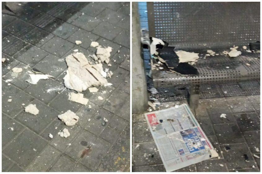 חלקי התקרה שנפלו בתחנה המרכזית