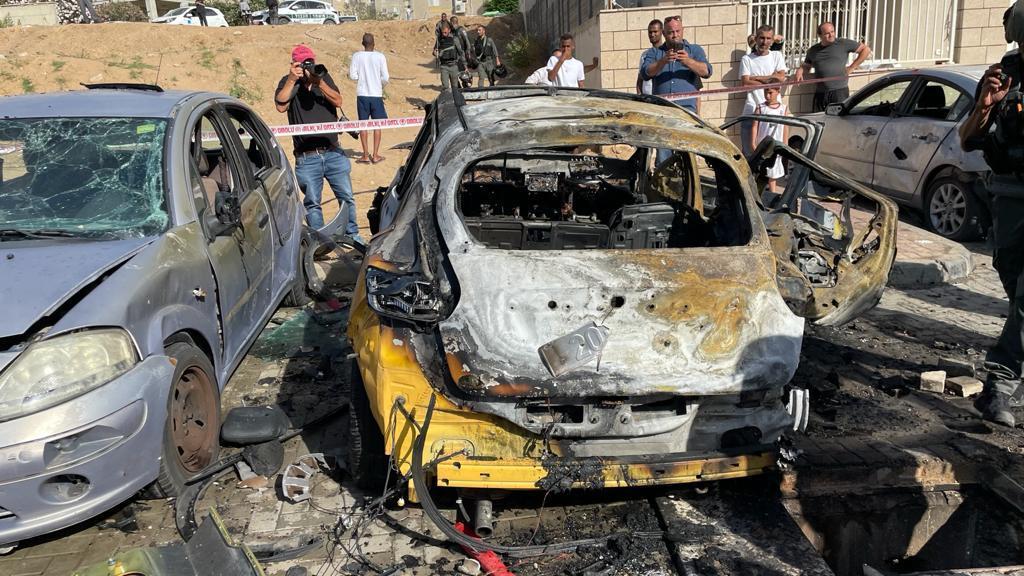פגיעה ישירה ברכב. צילום: דוברות עיריית אשקלון