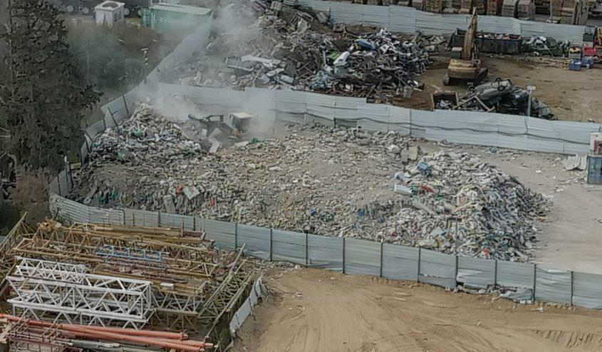 האתר הפיראטי באשקלון. צילום: המשטרה הירוקה, המשרד להגנת הסביבה