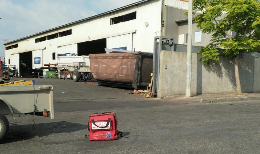 זירת התאונה במפעל. צילום: דוברות איחוד הצלה