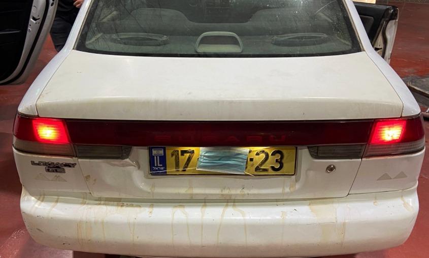 המכונית של הפורצים. צילום: דוברות המשטרה